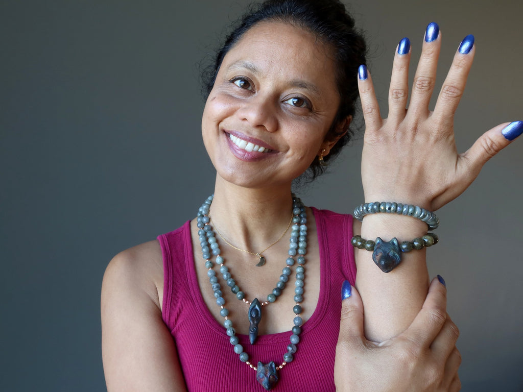 sheila of satin crystals wearing showcasing labradorite jewelry