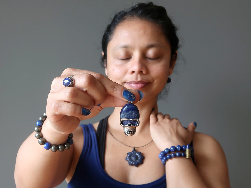 sheila of satin crystals wearing 7 lapis lazuli jewelry pieces