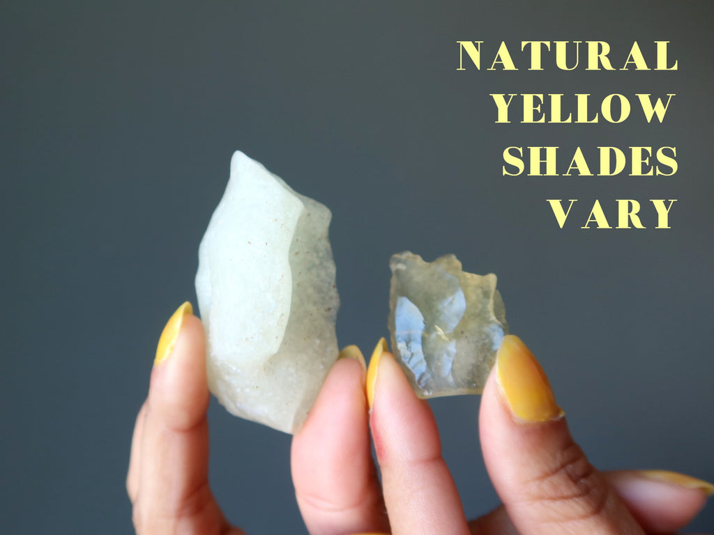 two pieces of libyan desert glass to show natural yellow shades vary