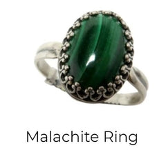 malachite ring in sterling silver