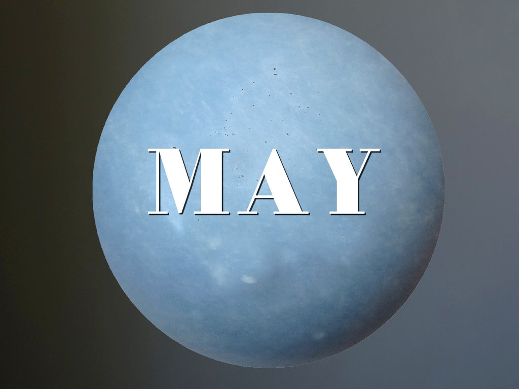 blue angelite sphere inscribed with MAY