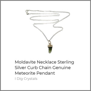 Moldavite Necklace Sterling Silver Curb Chain Genuine Meteorite Pendant