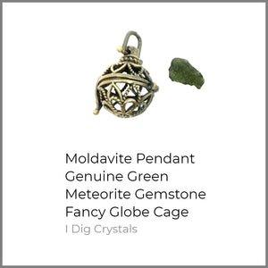 Moldavite Pendant Genuine Green Meteorite Gemstone Fancy Globe Cage