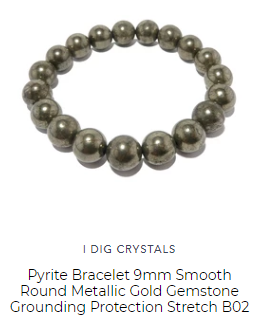 pyrite bracelet of golden fools gold to keep negative spirits away offered by satin crystals