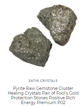 pair of pyrite raw gemstones for protection feng shui in bedroom home office keeps away bad spirits