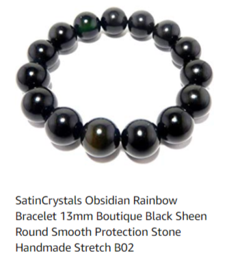 rainbow obsidian bracelet for all day protection from negative energy, from satin crystals jewelry line