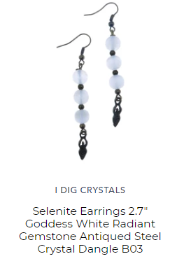 selenite earrings by satin crystals for all day zen meditation mindset
