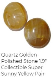 polished golden yellow quartz stones in a pair