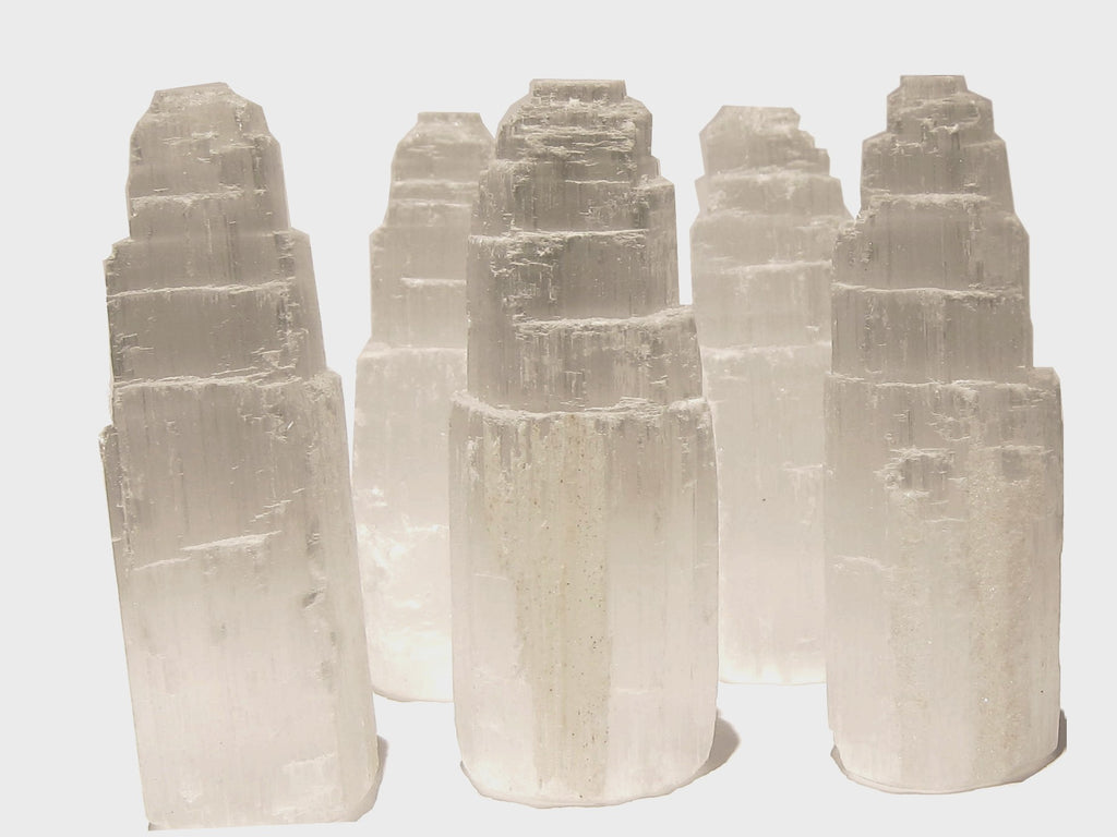 5 white Selenite tower cathedrals