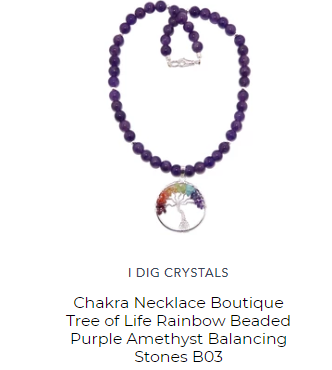 tree of life necklace with amethyst and chakra stones by satin crystals