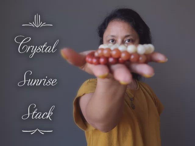 video on crystal sunrise stack bracelets