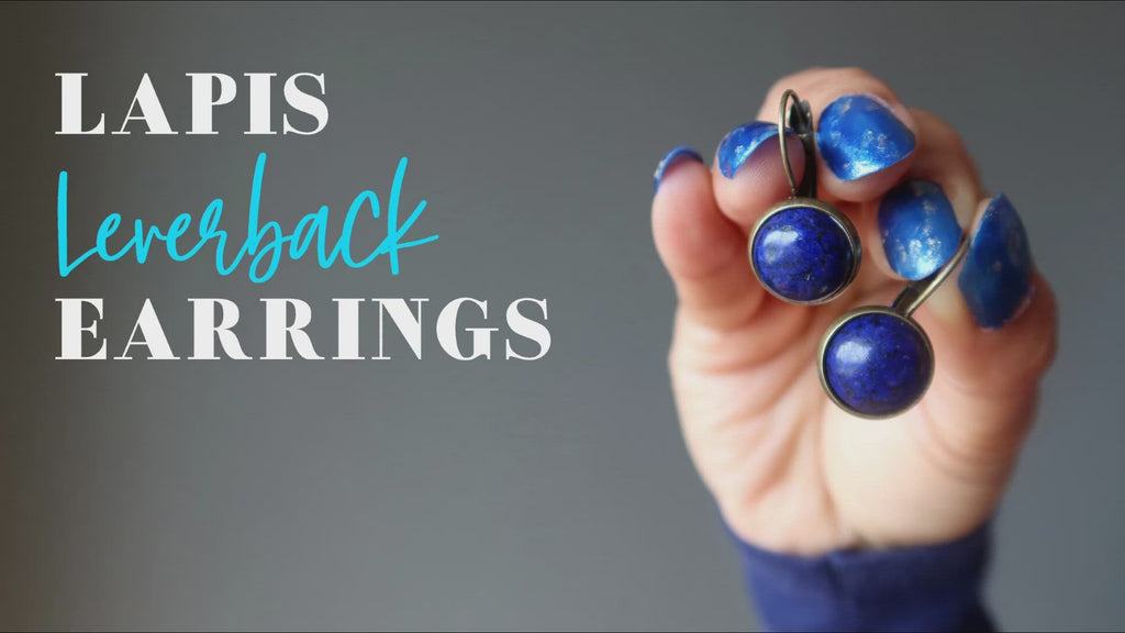 video featuring lapis leverback earrings