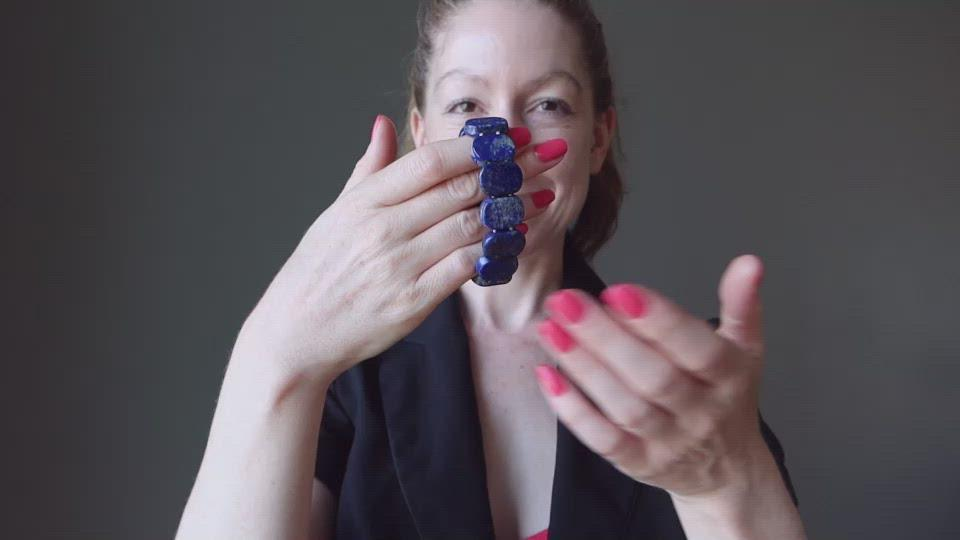video of female model showcasing lapis bracelet