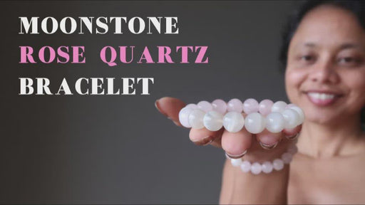 video showcasing moonstone and rose quartz stretch bracelet