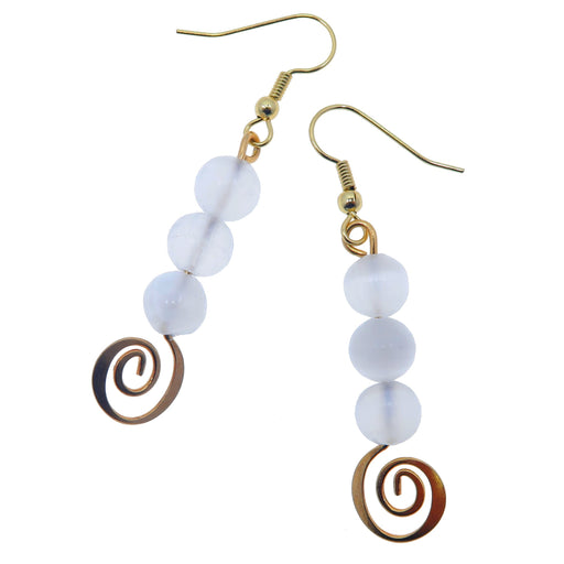 "Selenite White Earrings 2.3"" Boutique Unique Gold Spiral Genuine Gemstone Designer Dangle B01"