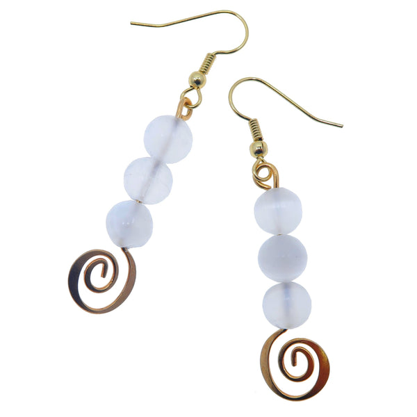 "Selenite White Earrings 2.3"" Boutique Gold Spiral Genuine Gemstone Designer Dangle B01"