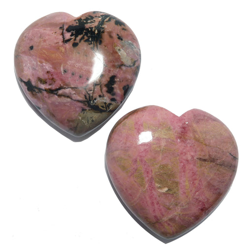 pink and black rhodonite polished hearts