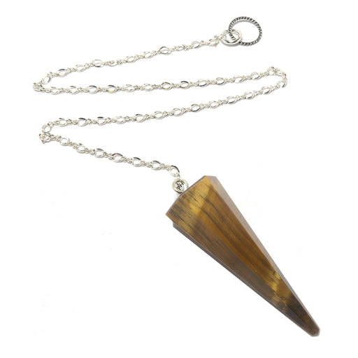 golden tigers eye faceted pendulum on sterling silver chain