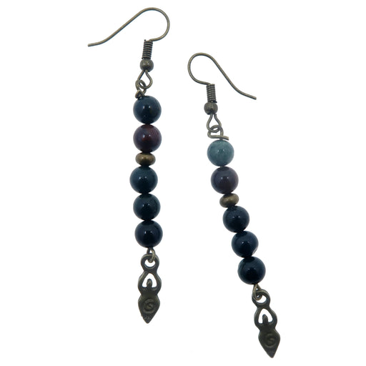 bloodstone goddess dangle earrings