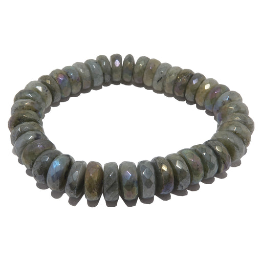 labradorite titanium coated faceted beaded bracelet