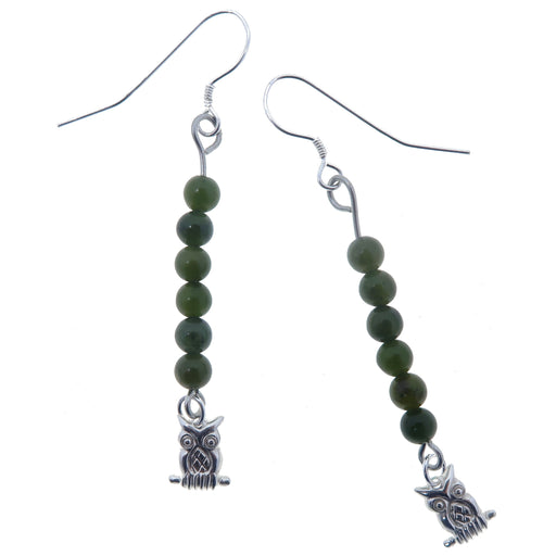 dark green nephrite jade beaded earrings with sterling silver owl dangles on sterling silver ear wires