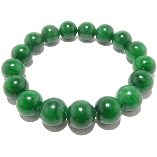 bright green jade round beaded bracelet