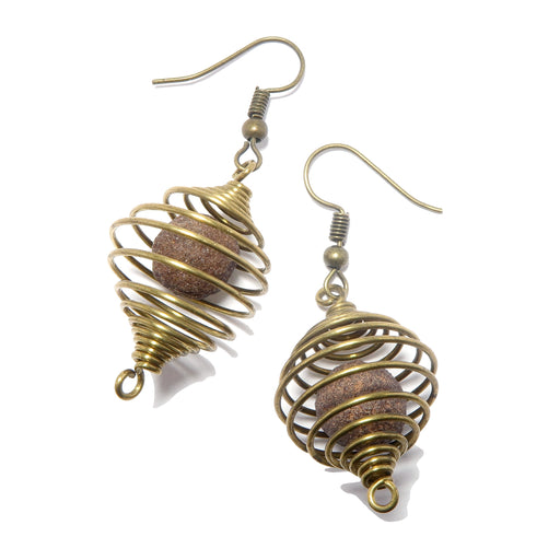 Moqui Marble Cage Earrings Genuine Grounding Shaman Stones Vintage Brass Jewelry