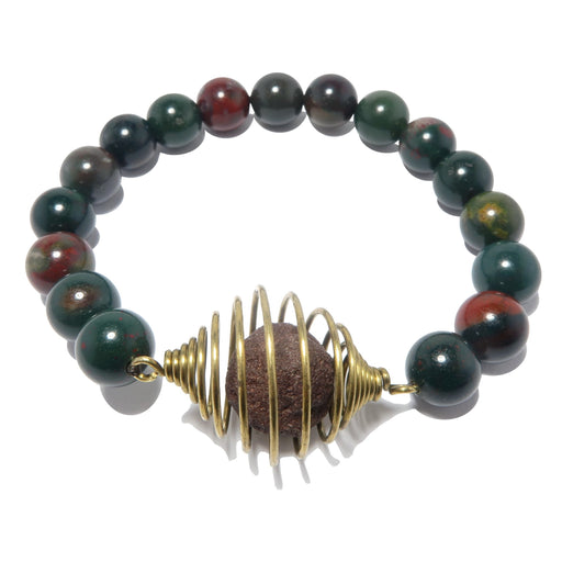moqui marble in vintage cage bloodstone beaded stretch bracelet