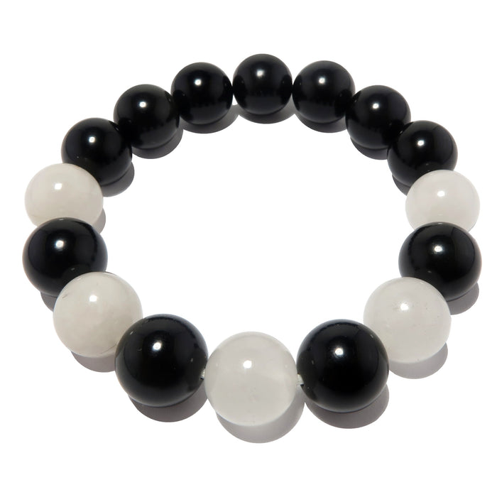white quartz and black obsidian round beaded stretch bracelet