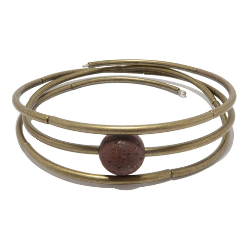 Lava Bracelet Memory Wire Red Essential Oil Diffuser Stone Antiqued Coil