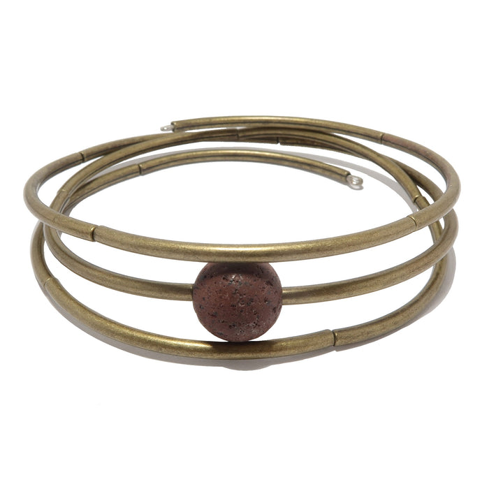 round red lava bead on 3 coils of antique gold memory wire bracelet