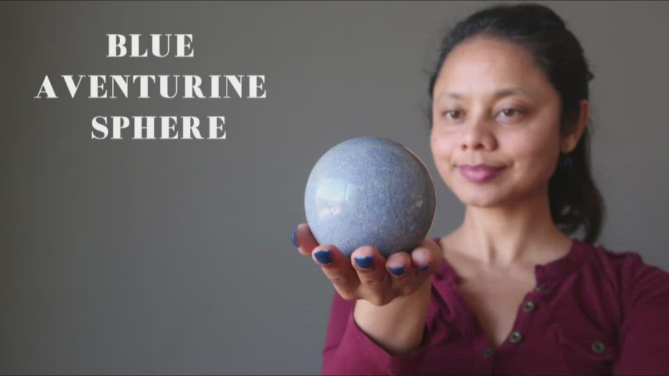 video on blue aventurine sphere