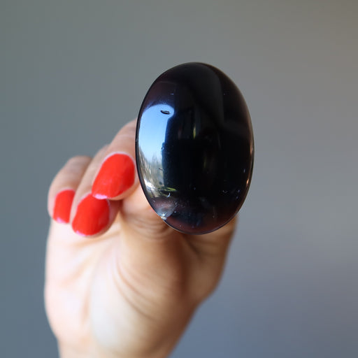 Agate Black Ring Big Shiny Oval Stone Antique Bronze (Adjustable Size 5-11)