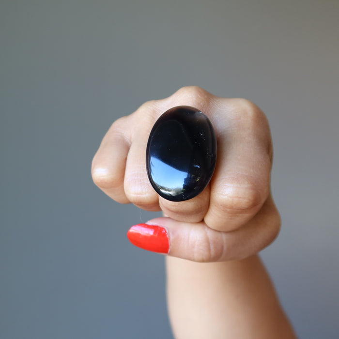 Agate Black Ring Big Shiny Oval Protection Stone Bronze Adjustable