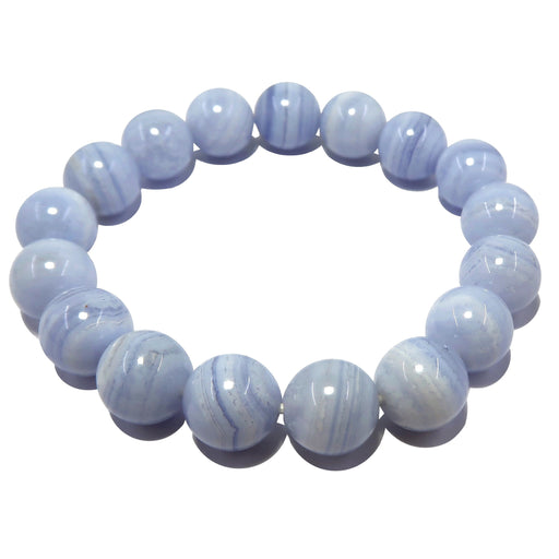 blue lace agate round beaded stretch bracelet