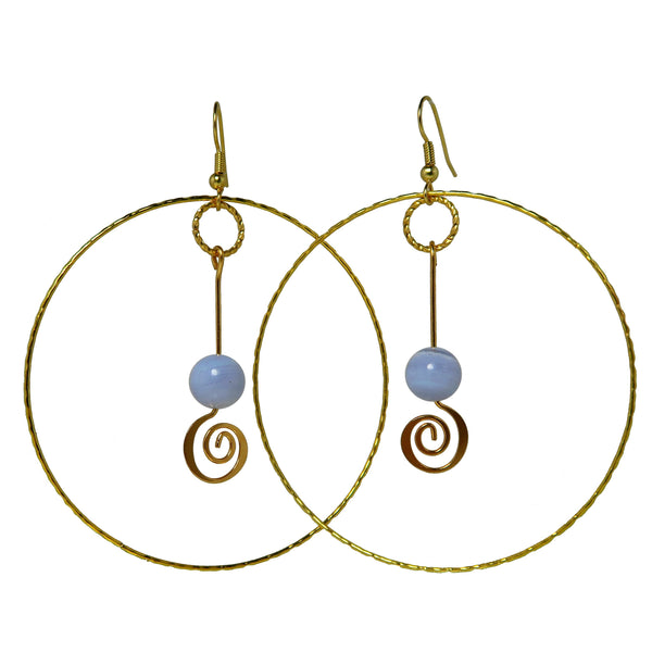 "Agate Blue Lace Earrings 3.3"" Boutique Deluxe Gemstone Crop Circle Spiral Big Hoop B01"