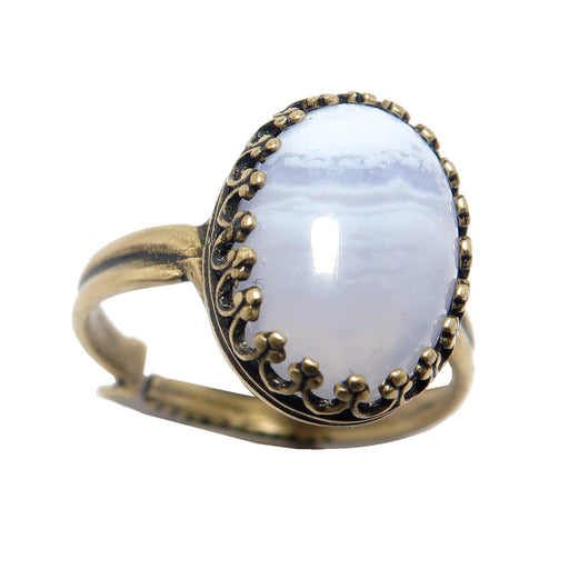 Agate Blue Lace Ring Antique Brass Icy Oval Gemstone (Adjustable Size 5-8)