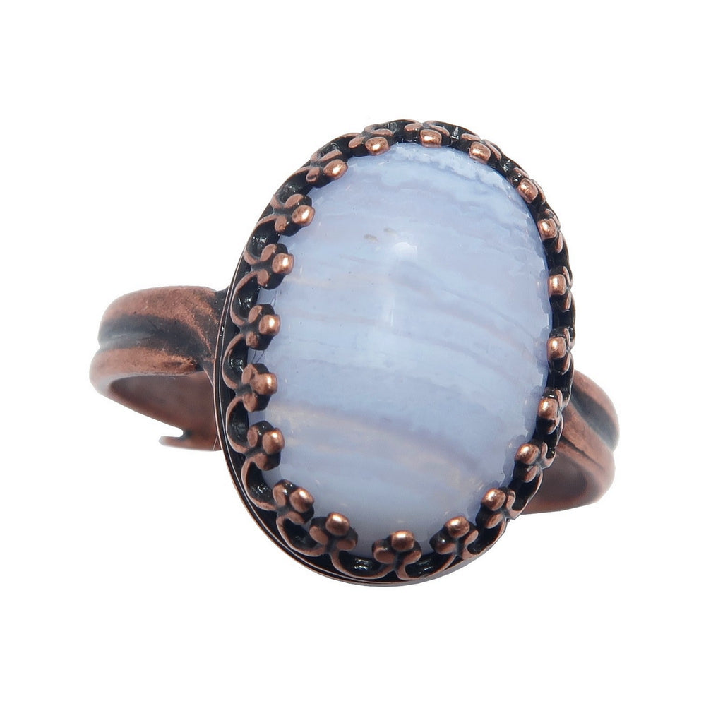 Agate Blue Lace Ring Antique Copper Icy Oval Gemstone (Adjustable Size 5-8)