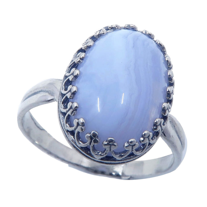 blue lace agate oval gemstone in sterling silver ring