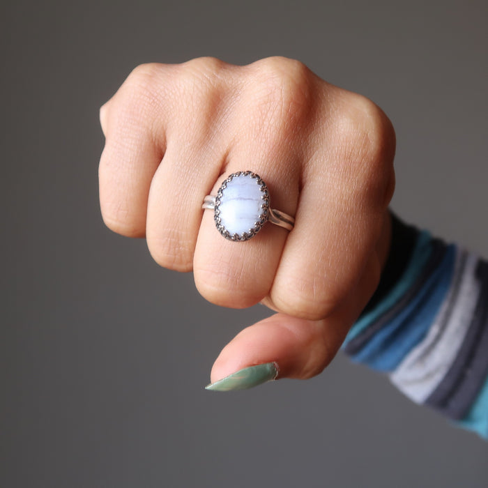 hand wearing blue lace agate sterling silver ring