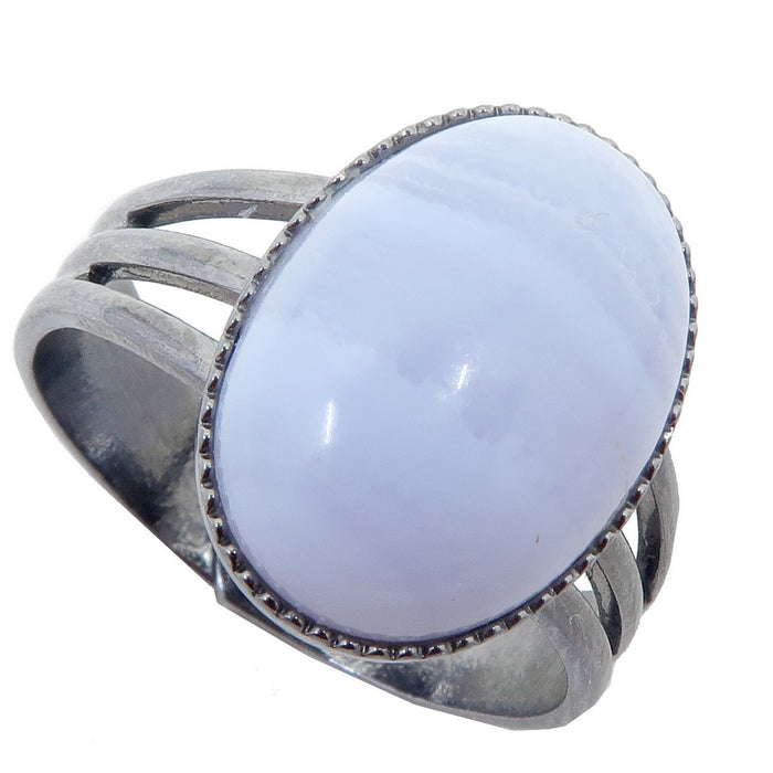 blue lace agate gemstone in gunmetal ring