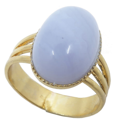 blue lace agate oval in gold tone adjustable ring