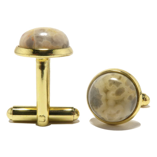crazy lace agate cabochons in gold brass cufflinks