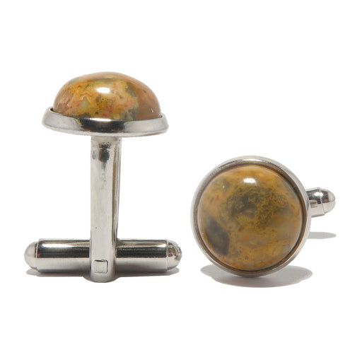 crazy lace agate cabochons in silver brass cufflinks