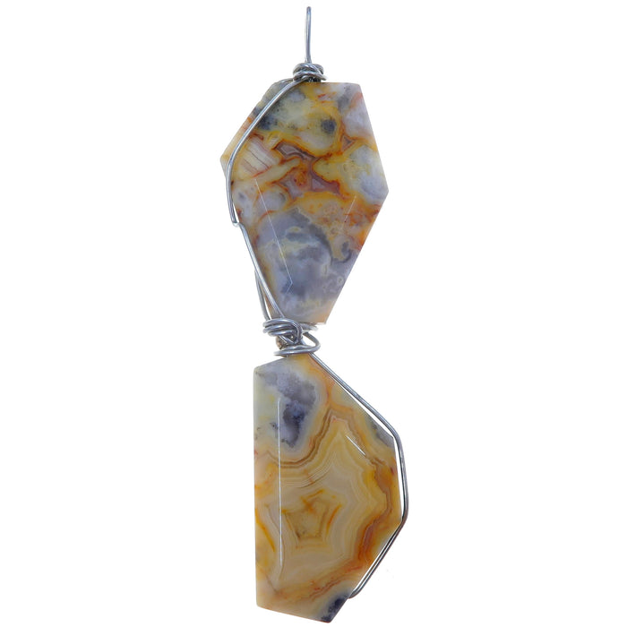Agate Crazy Lace Pendant One-of-Kind Yellow Stone Silver Wire Wrapped Long