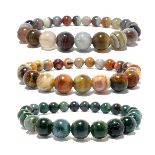 botswana, crazy lace and moss agate round beaded stretch bracelet set