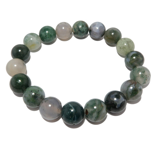 green and white moss agate round beaded stretch bracelet
