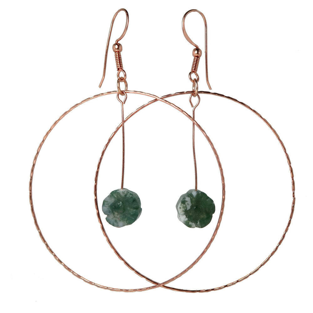 Moss Agate Hoop Earrings Green Flower Gemstone Big Copper