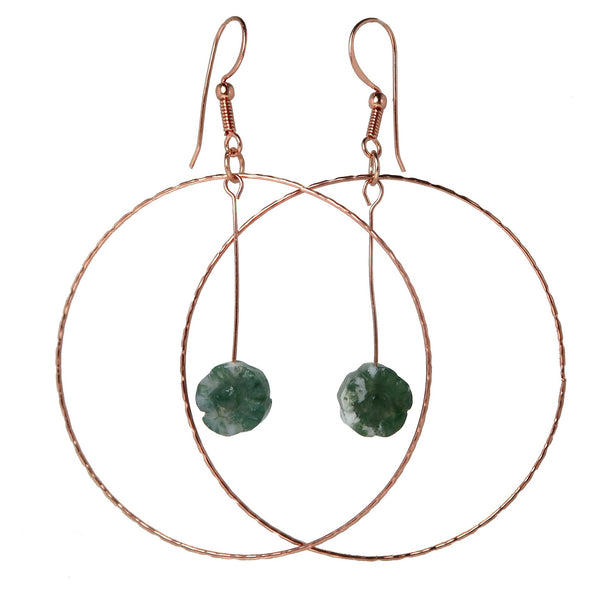 "Agate Moss Earrings 3.5"" Green Flower Life Energy Gemstone Big Copper Statement Hoop B01"