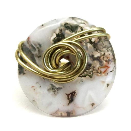 Agate Moss Ring 7.0 Specialty One-of-Kind White Stone Green Inclusions Natural Donut Gold Wire Wrapped S01